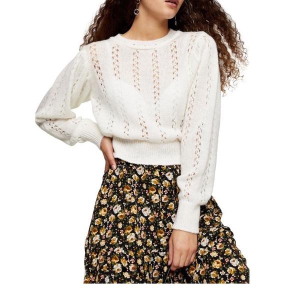 (NWT) TOPSHOP Idol pretty pointelle sweater ivory